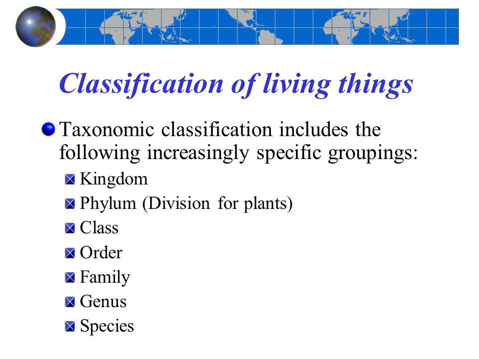 Classification of living things Taxonomic classification includes the following increasingly specific groupings: Kingdom Phylum (Division for plants)
