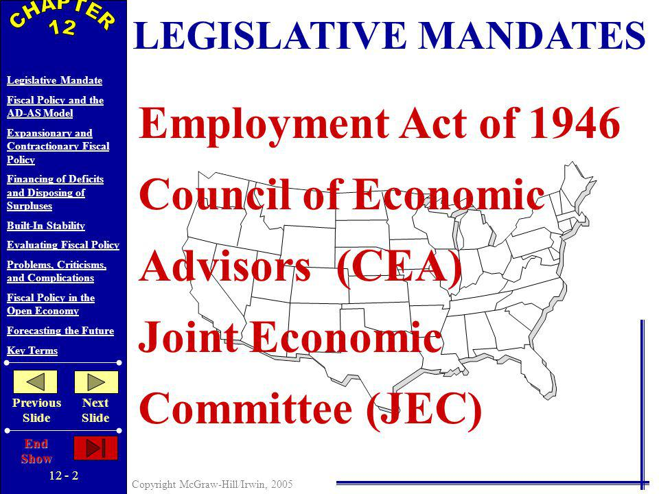 12 - 1 Copyright McGraw-Hill/Irwin, 2005 Legislative Mandate Fiscal Policy and the AD-AS Model Expansionary and Contractionary Fiscal Policy Financing of Deficits and Disposing of Surpluses Built-In Stability Evaluating Fiscal Policy Problems, Criticisms, and Complications Fiscal Policy in the Open Economy Forecasting the Future Key Terms Previous Slide Next Slide End Show FISCAL POLICY 12 C H A P T E R