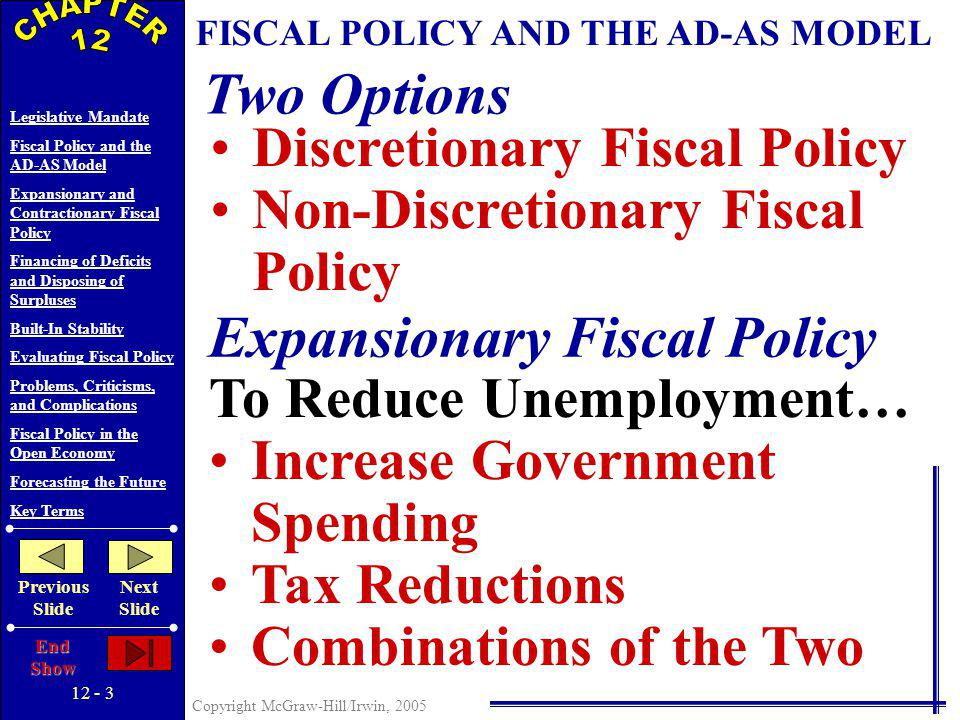 12 - 2 Copyright McGraw-Hill/Irwin, 2005 Legislative Mandate Fiscal Policy and the AD-AS Model Expansionary and Contractionary Fiscal Policy Financing of Deficits and Disposing of Surpluses Built-In Stability Evaluating Fiscal Policy Problems, Criticisms, and Complications Fiscal Policy in the Open Economy Forecasting the Future Key Terms Previous Slide Next Slide End Show LEGISLATIVE MANDATES Employment Act of 1946 Council of Economic Advisors (CEA) Joint Economic Committee (JEC)