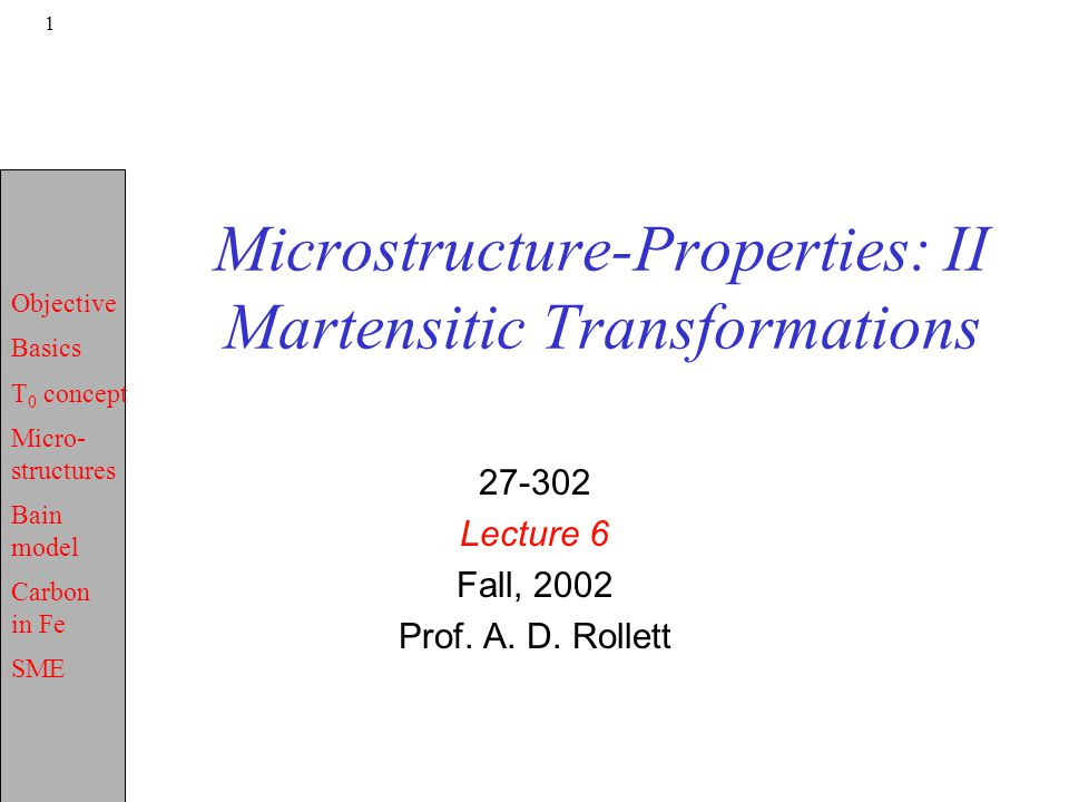 Objective Basics T 0 concept Micro- structures Bain model Carbon in Fe SME 1 Microstructure-Properties: II Martensitic Transformations 27-302 Lecture