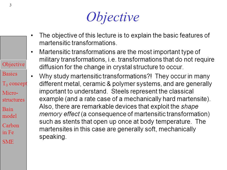 Objective Basics T 0 concept Micro- structures Bain model Carbon in Fe SME 3 Objective The objective of this lecture is to explain the basic features