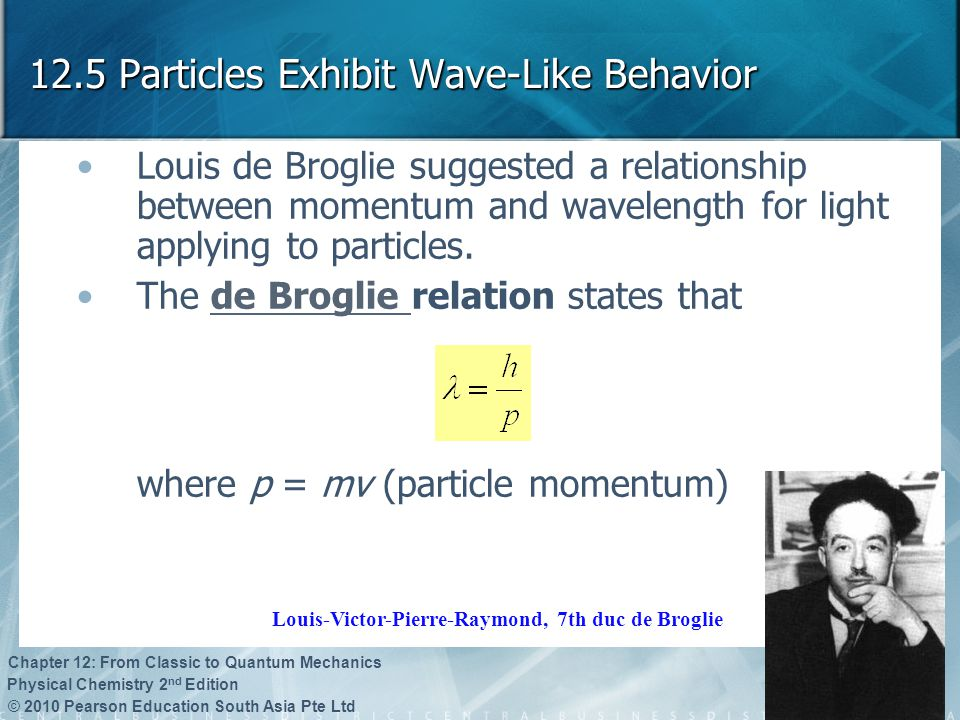 © 2010 Pearson Education South Asia Pte Ltd Physical Chemistry 2 nd Edition Chapter 12: From Classic to Quantum Mechanics 12.5 Particles Exhibit Wave-