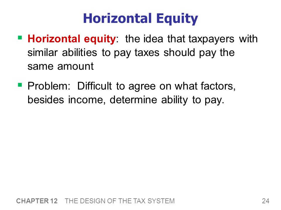 24 CHAPTER 12 THE DESIGN OF THE TAX SYSTEM Horizontal Equity  Horizontal equity: the idea that taxpayers with similar abilities to pay taxes should pay the same amount  Problem: Difficult to agree on what factors, besides income, determine ability to pay.