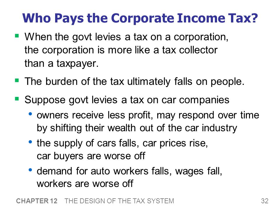 32 CHAPTER 12 THE DESIGN OF THE TAX SYSTEM Who Pays the Corporate Income Tax?  When the govt levies a tax on a corporation, the corporation is more l