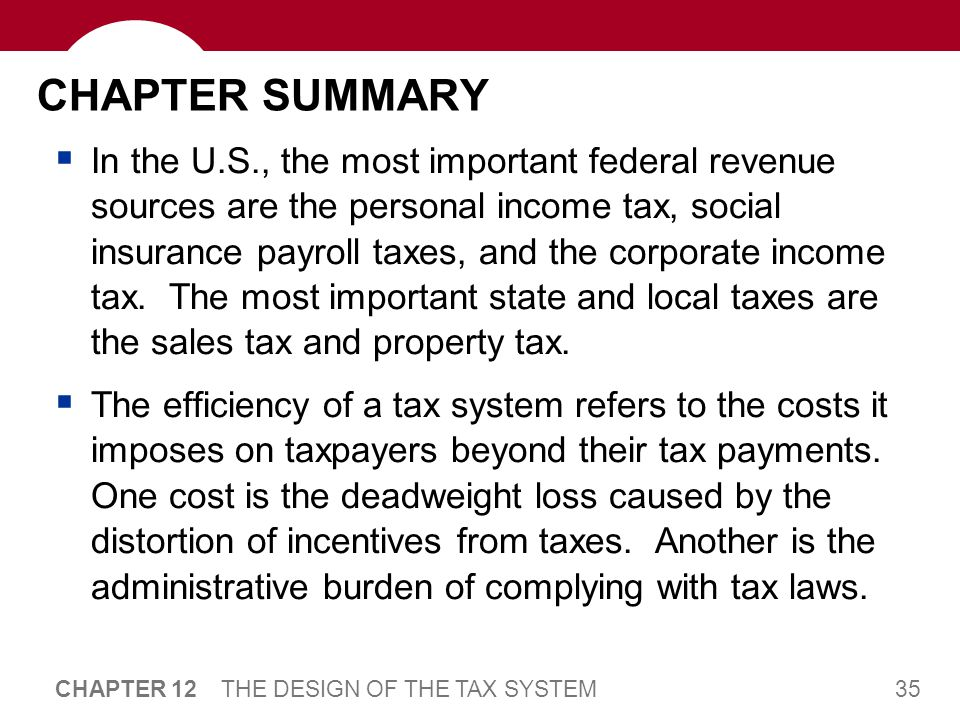 35 CHAPTER 12 THE DESIGN OF THE TAX SYSTEM CHAPTER SUMMARY  In the U.S., the most important federal revenue sources are the personal income tax, soci