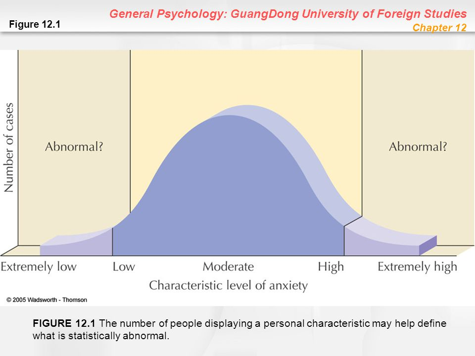 General Psychology: GuangDong University of Foreign Studies Chapter 12 Schizophrenic Brain Computed Tomography (CT) Scan: Computer enhanced X-ray of brain or body –CT scans show schizophrenic brains as having wider surface fissures Magnetic Resonance Imaging (MRI) Scan: Computer enhanced three-dimensional image of brain or body; based on magnetic field –MRIs show schizophrenic brains as having enlarged ventricles