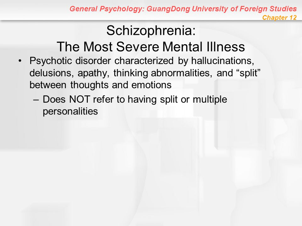 General Psychology: GuangDong University of Foreign Studies Chapter 12 Schizophrenia: The Most Severe Mental Illness Psychotic disorder characterized