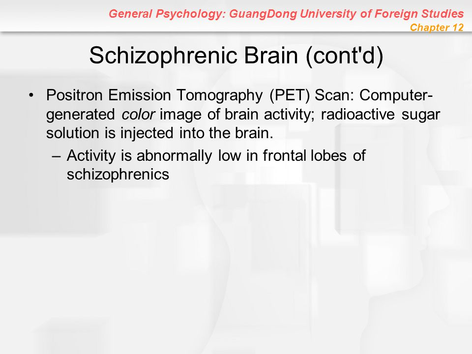 General Psychology: GuangDong University of Foreign Studies Chapter 12 Schizophrenic Brain (cont'd) Positron Emission Tomography (PET) Scan: Computer-