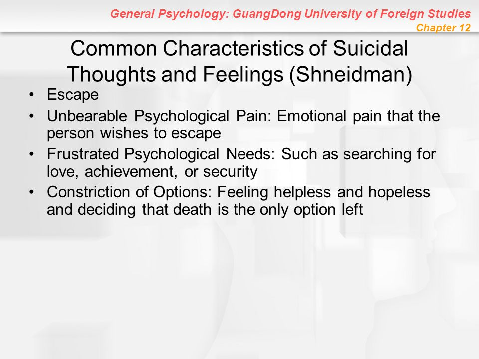 General Psychology: GuangDong University of Foreign Studies Chapter 12 Common Characteristics of Suicidal Thoughts and Feelings (Shneidman) Escape Unb