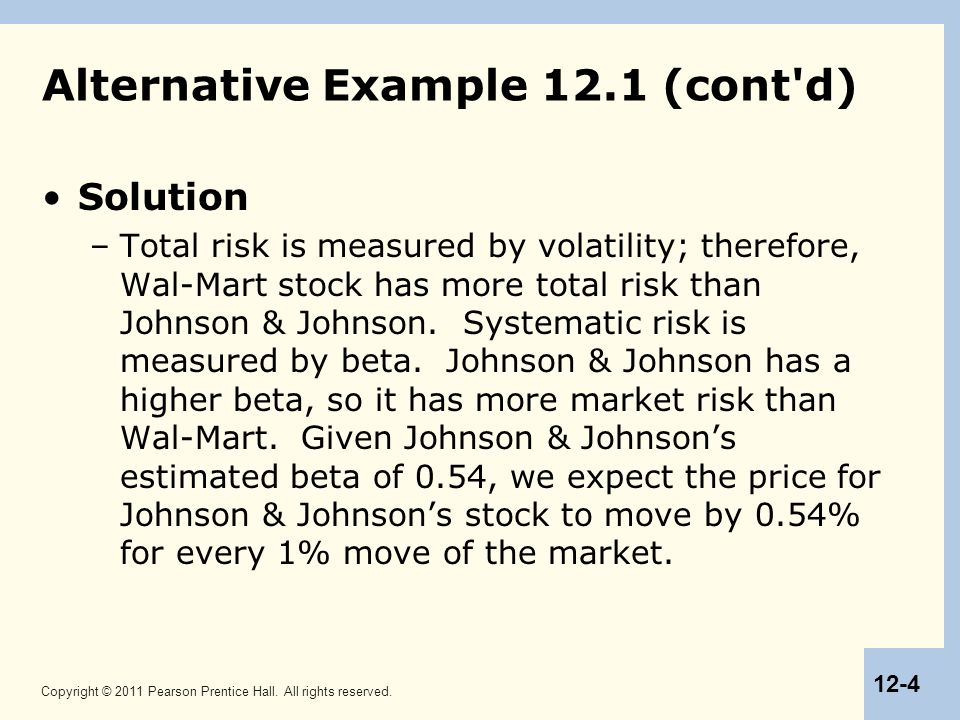Copyright © 2011 Pearson Prentice Hall. All rights reserved. 12-4 Alternative Example 12.1 (cont'd) Solution –Total risk is measured by volatility; th