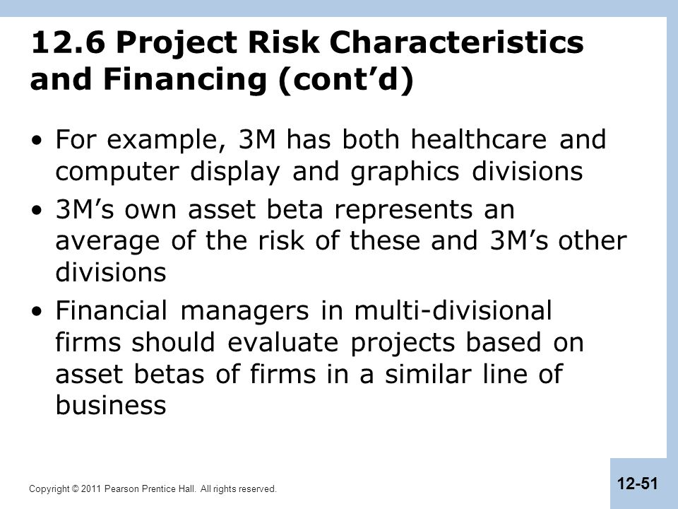 Copyright © 2011 Pearson Prentice Hall. All rights reserved. 12-51 12.6 Project Risk Characteristics and Financing (cont'd) For example, 3M has both h