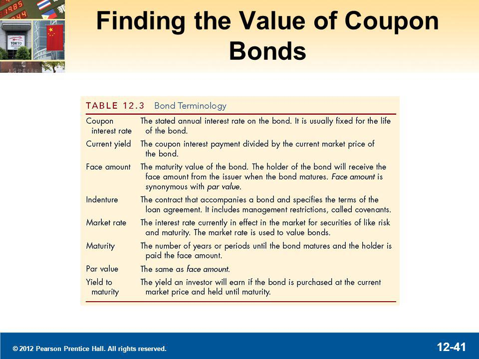 © 2012 Pearson Prentice Hall. All rights reserved. 12-41 Finding the Value of Coupon Bonds