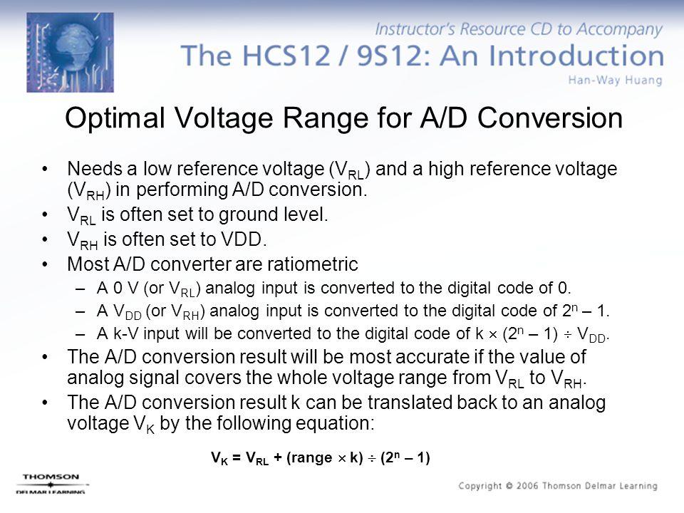 V K = V RL + (range  k)  (2 n – 1) Optimal Voltage Range for A/D Conversion Needs a low reference voltage (V RL ) and a high reference voltage (V RH
