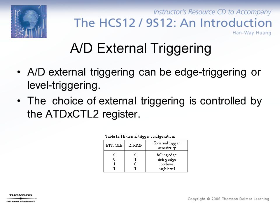 A/D External Triggering A/D external triggering can be edge-triggering or level-triggering. The choice of external triggering is controlled by the ATD