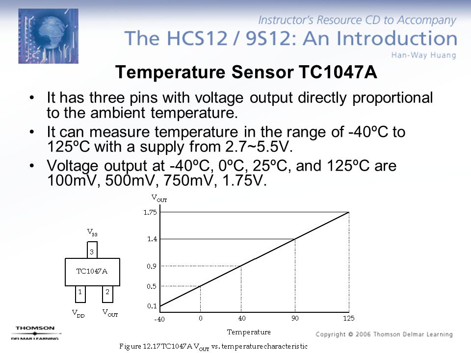 Temperature Sensor TC1047A It has three pins with voltage output directly proportional to the ambient temperature. It can measure temperature in the r