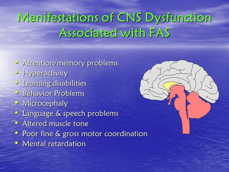 Manifestations of CNS Dysfunction Associated with FAS Attention/memory problems Attention/memory problems Hyperactivity Hyperactivity Learning disabilities Learning disabilities Behavior Problems Behavior Problems Microcephaly Microcephaly Language & speech problems Language & speech problems Altered muscle tone Altered muscle tone Poor fine & gross motor coordination Poor fine & gross motor coordination Mental retardation Mental retardation