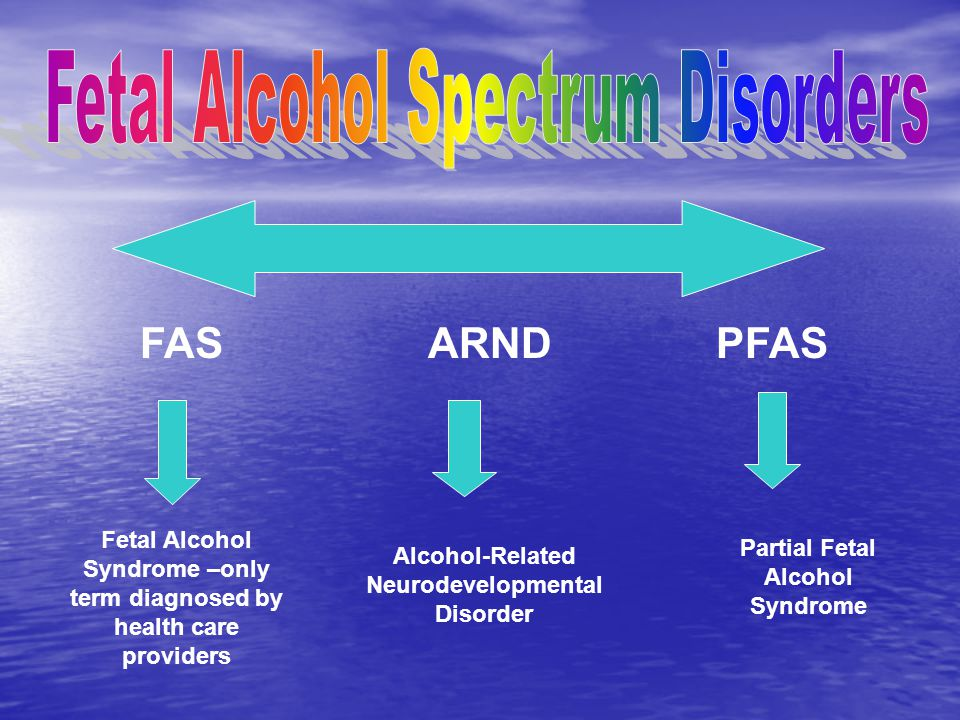 FASARNDPFAS Fetal Alcohol Syndrome –only term diagnosed by health care providers Alcohol-Related Neurodevelopmental Disorder Partial Fetal Alcohol Syndrome