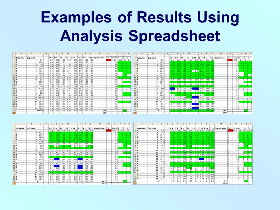 Examples of Results Using Analysis Spreadsheet