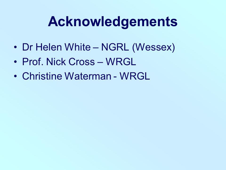 Acknowledgements Dr Helen White – NGRL (Wessex) Prof. Nick Cross – WRGL Christine Waterman - WRGL