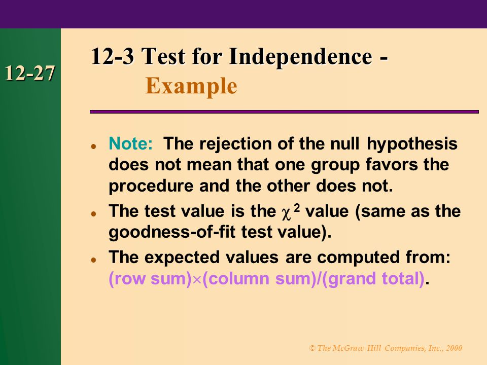 © The McGraw-Hill Companies, Inc., 2000 12-28 12-3 Test for Independence - 12-3 Test for Independence - Example