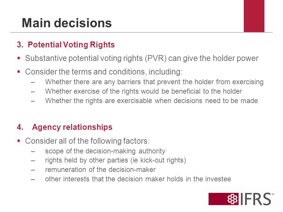 Main decisions 3.
