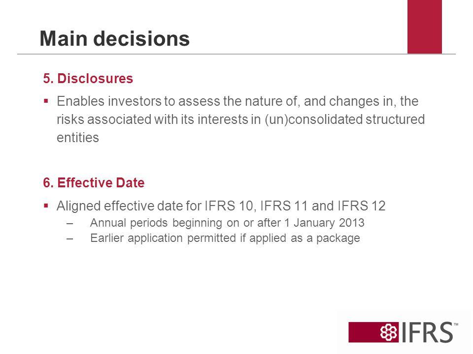 Main decisions 5.