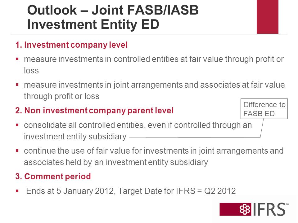 Outlook – Joint FASB/IASB Investment Entity ED 1.