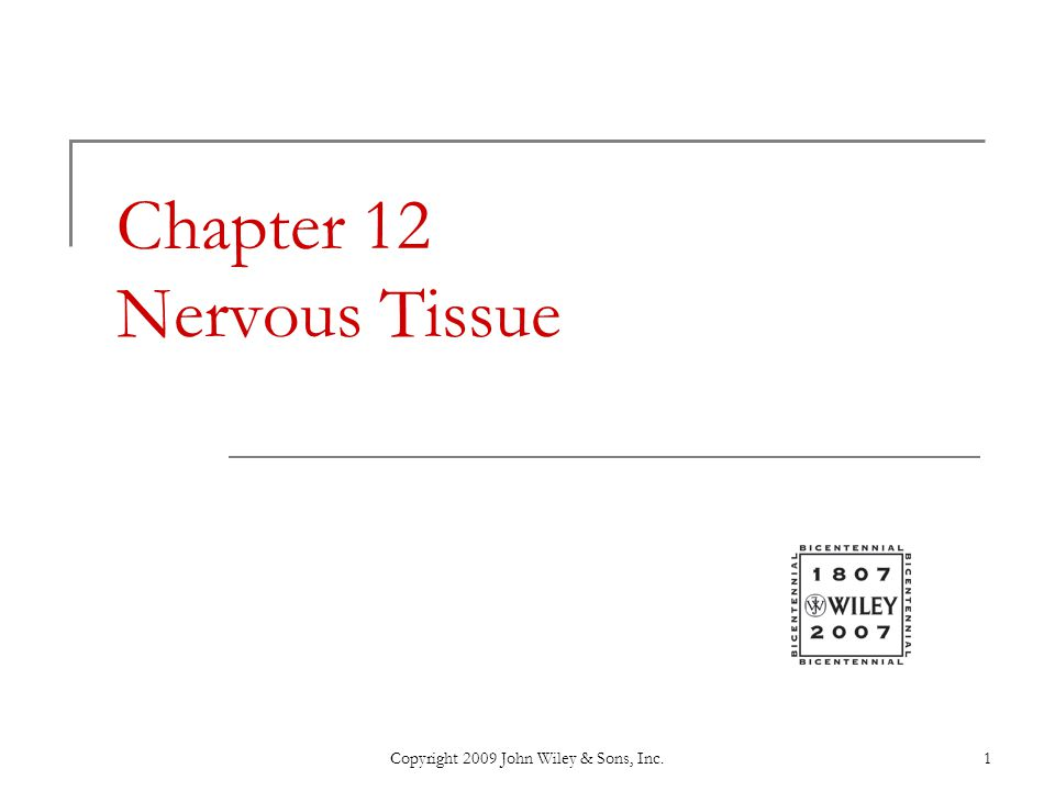Copyright 2009 John Wiley & Sons, Inc.1 Chapter 12 Nervous Tissue