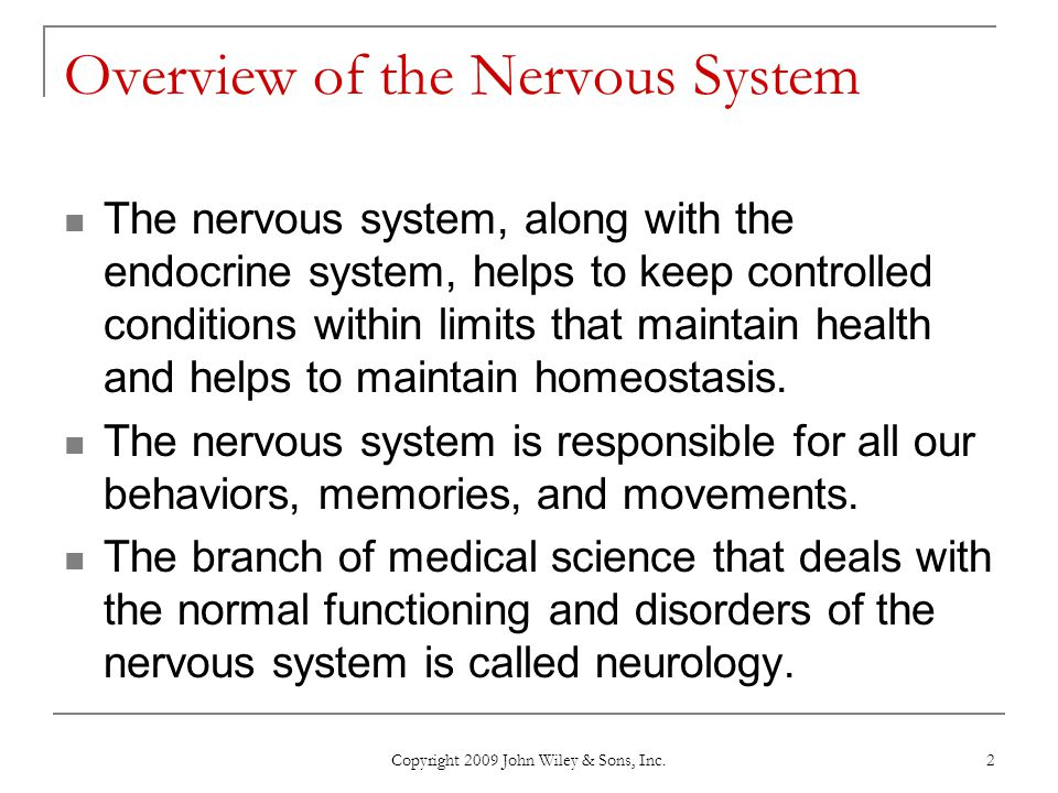 Copyright 2009 John Wiley & Sons, Inc. 2 Overview of the Nervous System The nervous system, along with the endocrine system, helps to keep controlled
