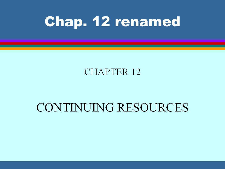 Chap. 12 renamed