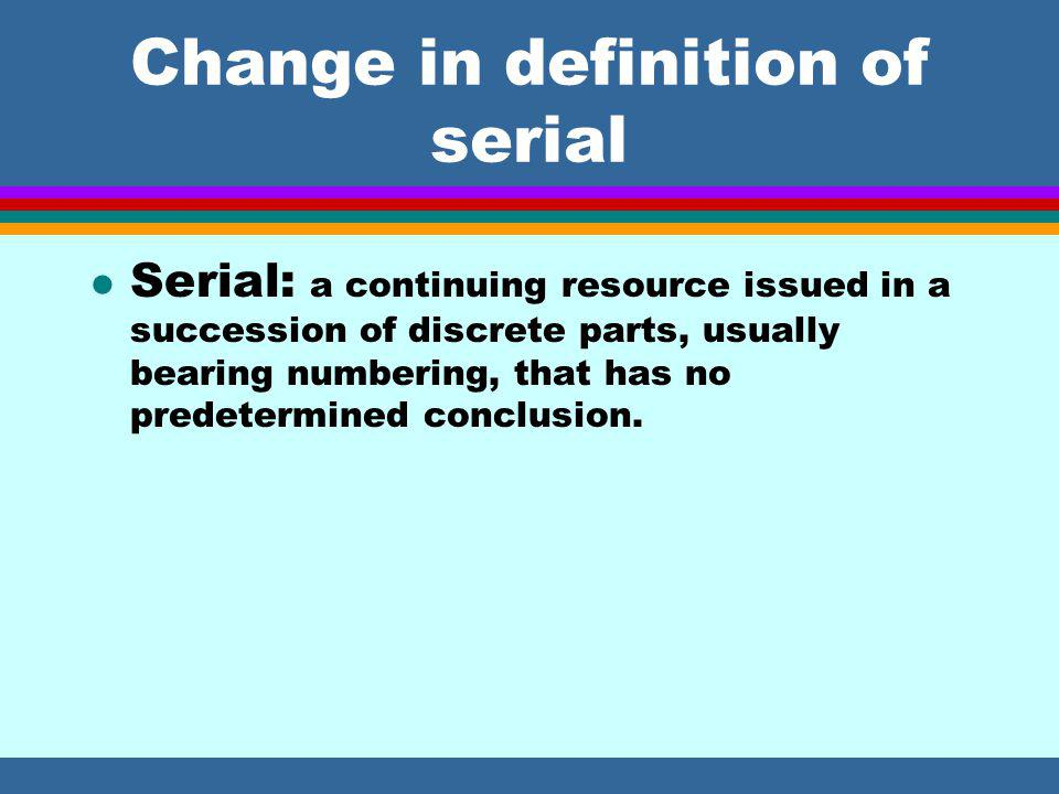 Dealing with changes: chap 12 + chap 21 l New set of rules included in chap.