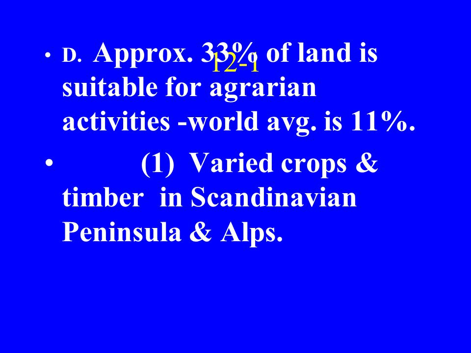 12-1 D. Approx. 33% of land is suitable for agrarian activities -world avg.
