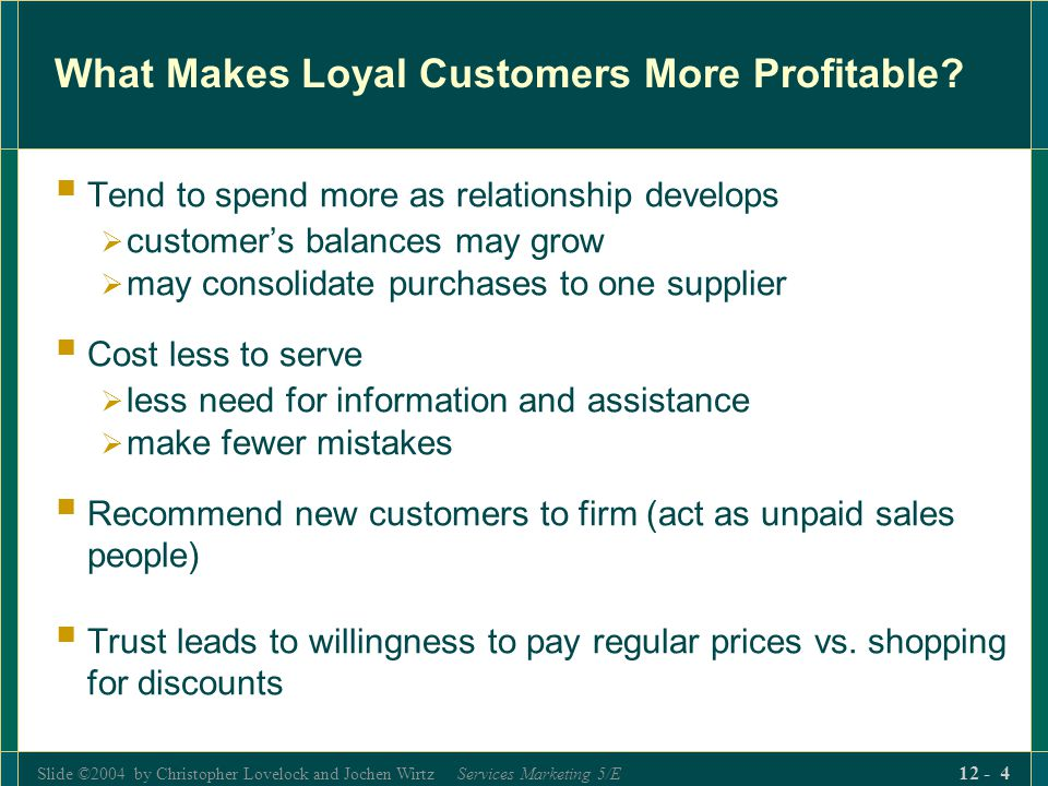 Slide ©2004 by Christopher Lovelock and Jochen Wirtz Services Marketing 5/E 12 - 15 The Customer Satisfaction-Loyalty Relationship (Fig.