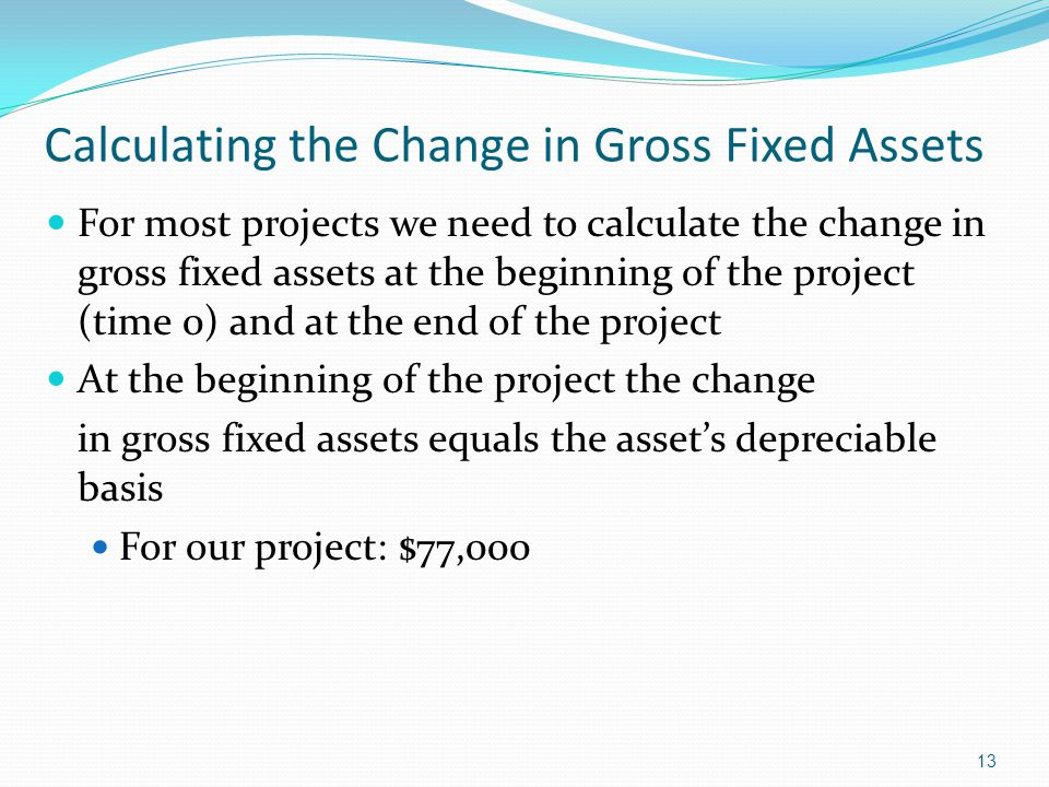 13 Calculating the Change in Gross Fixed Assets For most projects we need to calculate the change in gross fixed assets at the beginning of the projec