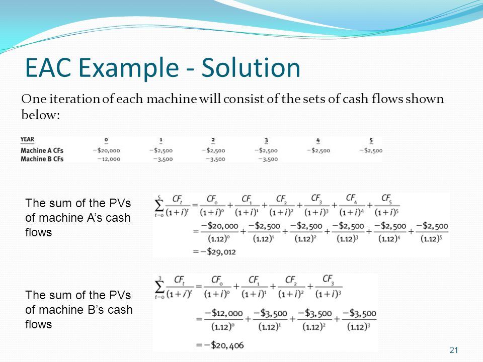 21 EAC Example - Solution One iteration of each machine will consist of the sets of cash flows shown below: The sum of the PVs of machine A's cash flo