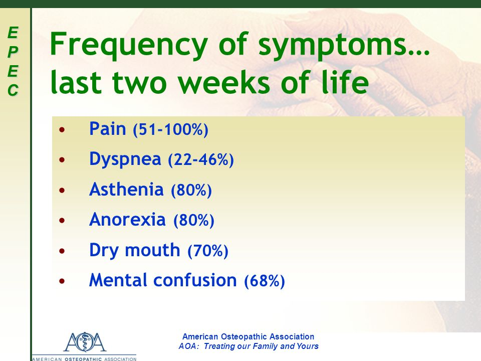 EPECEPECEPECEPEC American Osteopathic Association AOA: Treating our Family and Yours Frequency of symptoms… last two weeks of life Pain (51-100%) Dyspnea (22-46%) Asthenia (80%) Anorexia (80%) Dry mouth (70%) Mental confusion (68%)