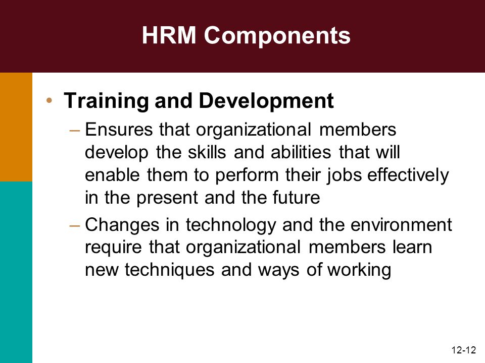 12-12 HRM Components Training and Development –Ensures that organizational members develop the skills and abilities that will enable them to perform t