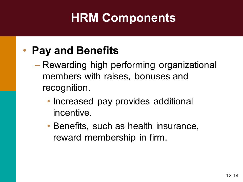 12-14 HRM Components Pay and Benefits –Rewarding high performing organizational members with raises, bonuses and recognition. Increased pay provides a