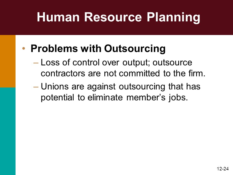 12-24 Human Resource Planning Problems with Outsourcing –Loss of control over output; outsource contractors are not committed to the firm. –Unions are