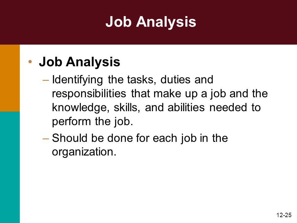 12-25 Job Analysis –Identifying the tasks, duties and responsibilities that make up a job and the knowledge, skills, and abilities needed to perform t