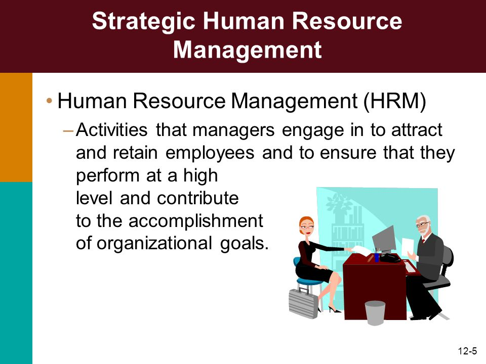 12-6 Strategic Human Resource Management HRM activities –Recruitment and selection –Training and development –Performance appraisal and feedback –Pay and benefits –Labor relations