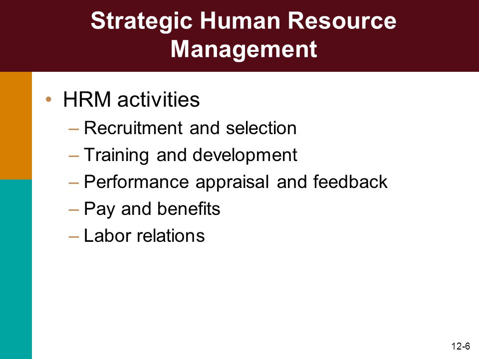 12-6 Strategic Human Resource Management HRM activities –Recruitment and selection –Training and development –Performance appraisal and feedback –Pay