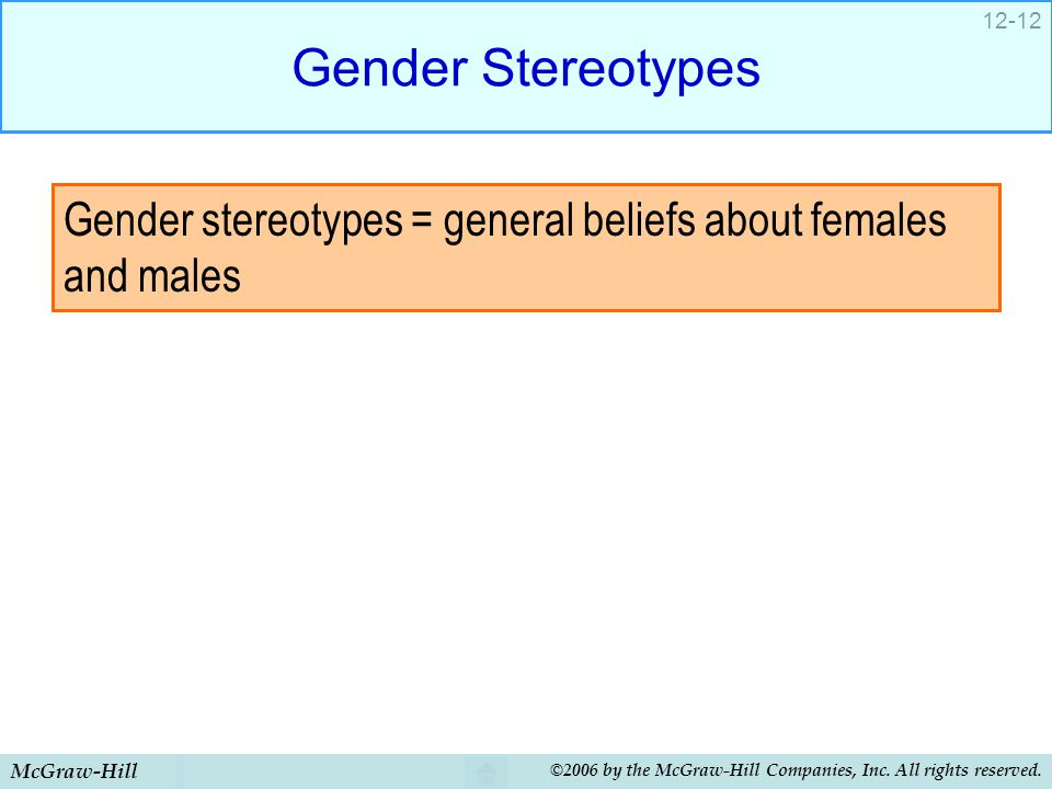 McGraw-Hill ©2006 by the McGraw-Hill Companies, Inc. All rights reserved. 12-12 Gender Stereotypes Gender stereotypes = general beliefs about females
