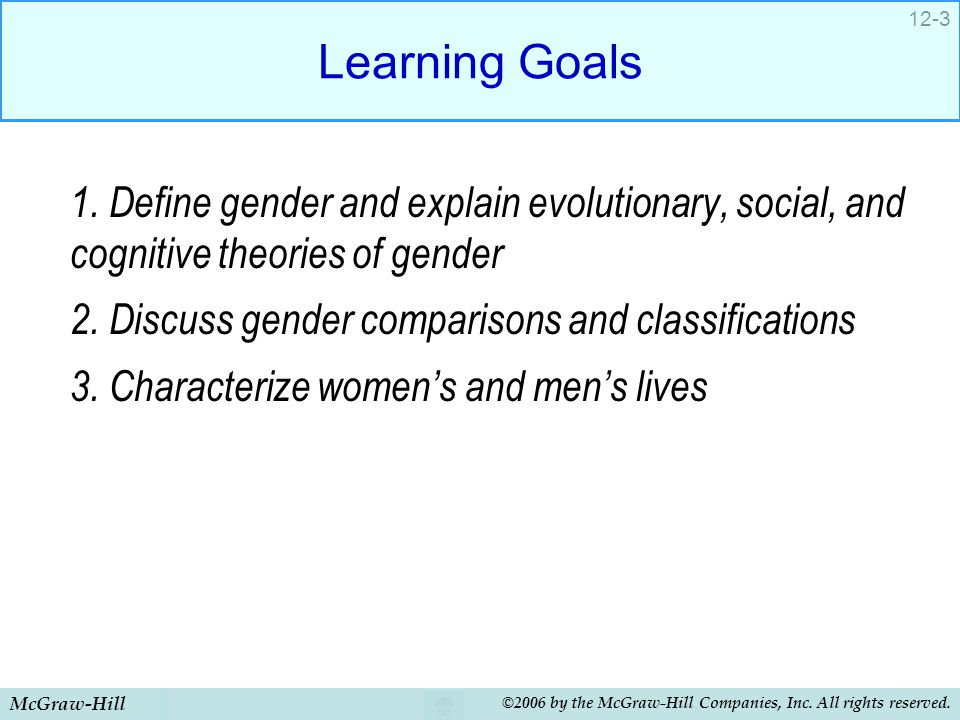 McGraw-Hill ©2006 by the McGraw-Hill Companies, Inc. All rights reserved. 12-3 Learning Goals 1. Define gender and explain evolutionary, social, and c