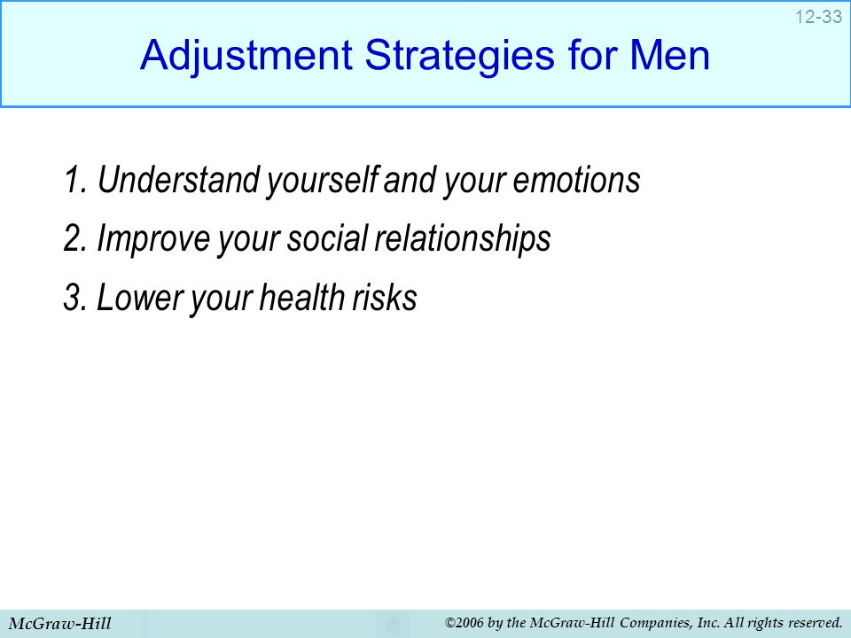 McGraw-Hill ©2006 by the McGraw-Hill Companies, Inc. All rights reserved. 12-33 Adjustment Strategies for Men 1. Understand yourself and your emotions