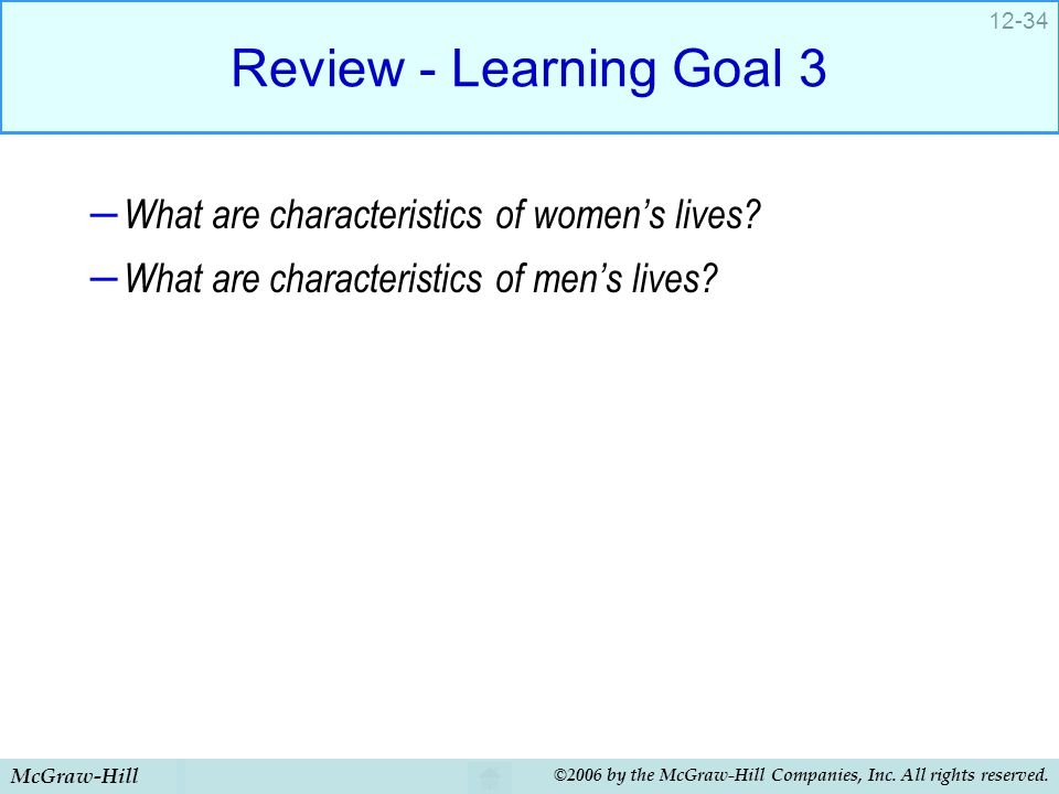 McGraw-Hill ©2006 by the McGraw-Hill Companies, Inc. All rights reserved. 12-34 Review - Learning Goal 3 – What are characteristics of women's lives?
