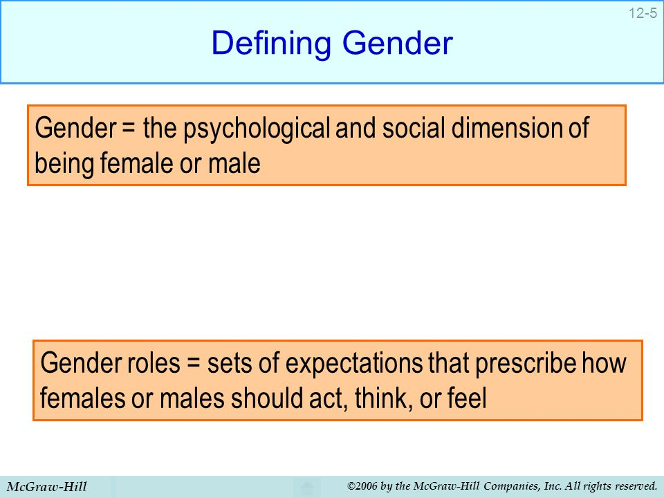 McGraw-Hill ©2006 by the McGraw-Hill Companies, Inc. All rights reserved. 12-5 Defining Gender Gender = the psychological and social dimension of bein
