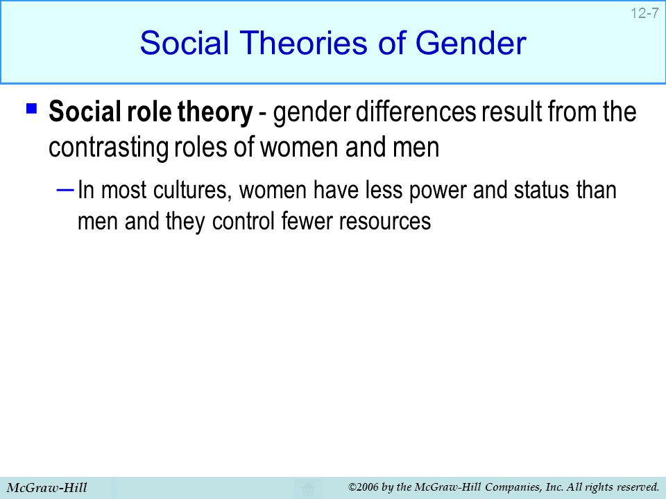 McGraw-Hill ©2006 by the McGraw-Hill Companies, Inc. All rights reserved. 12-7 Social Theories of Gender  Social role theory - gender differences res
