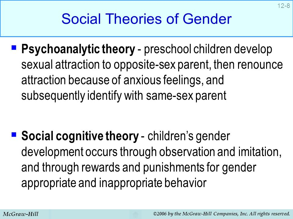 McGraw-Hill ©2006 by the McGraw-Hill Companies, Inc. All rights reserved. 12-8 Social Theories of Gender  Psychoanalytic theory - preschool children