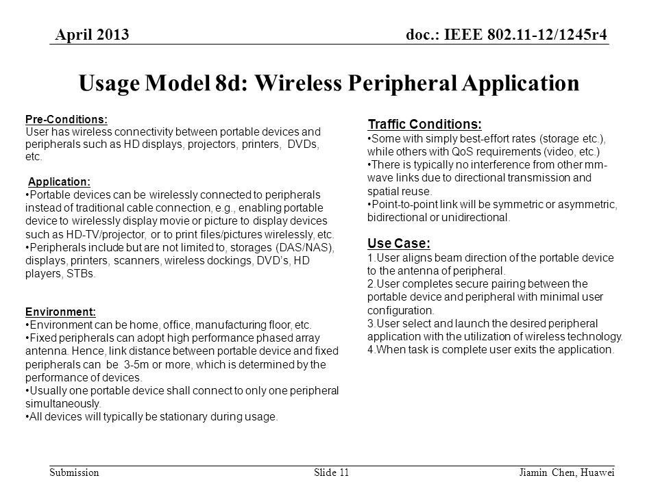 doc.: IEEE 802.11-12/1245r4 Submission April 2013 Jiamin Chen, HuaweiSlide 11 Usage Model 8d: Wireless Peripheral Application Traffic Conditions: Some with simply best-effort rates (storage etc.), while others with QoS requirements (video, etc.) There is typically no interference from other mm- wave links due to directional transmission and spatial reuse.